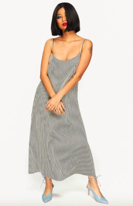 model wear striped maxi dress