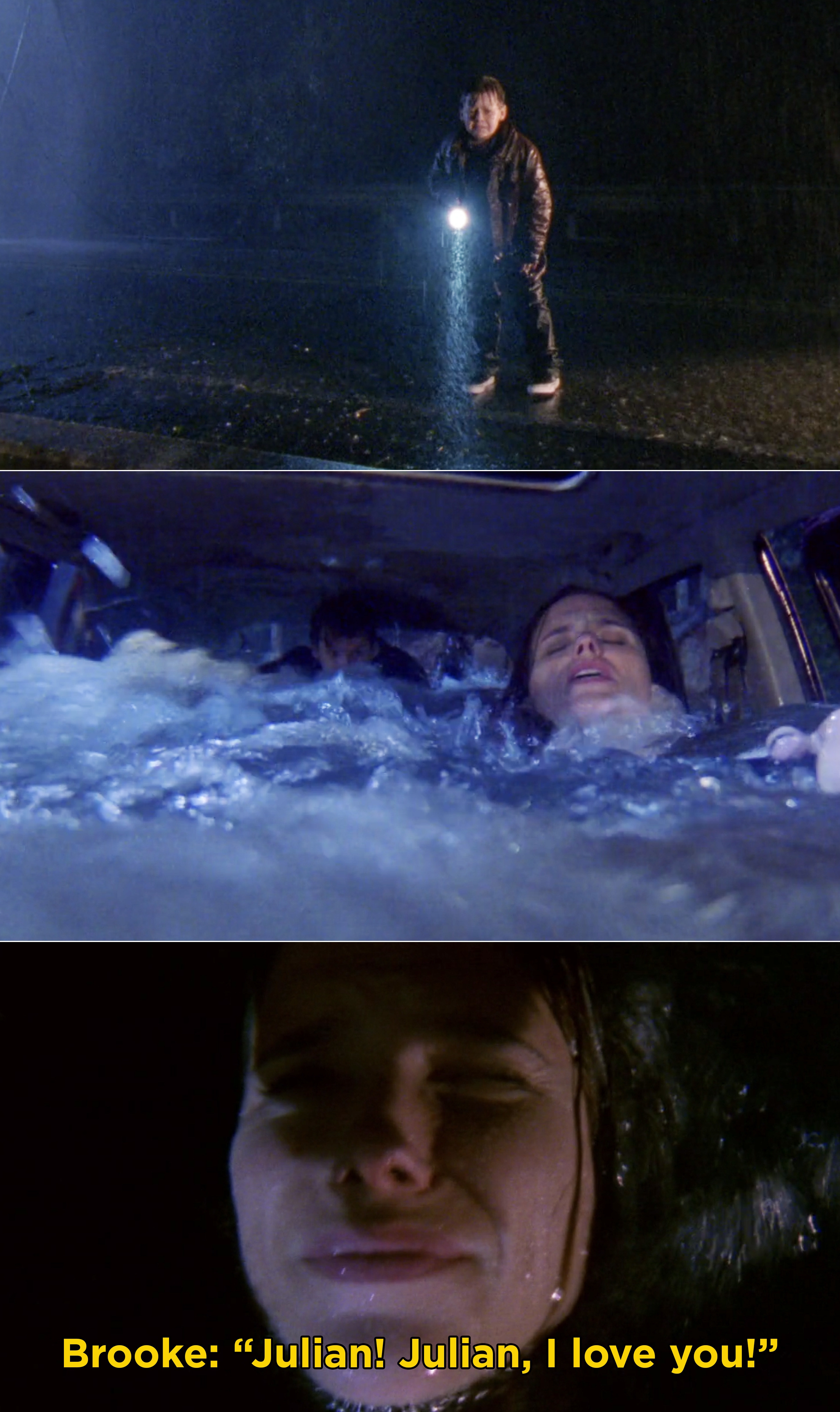 """Jamie watching from the bridge, Brooke's car filling up with water, and Brooke screaming, """"Julian! Julian, I love you!"""""""