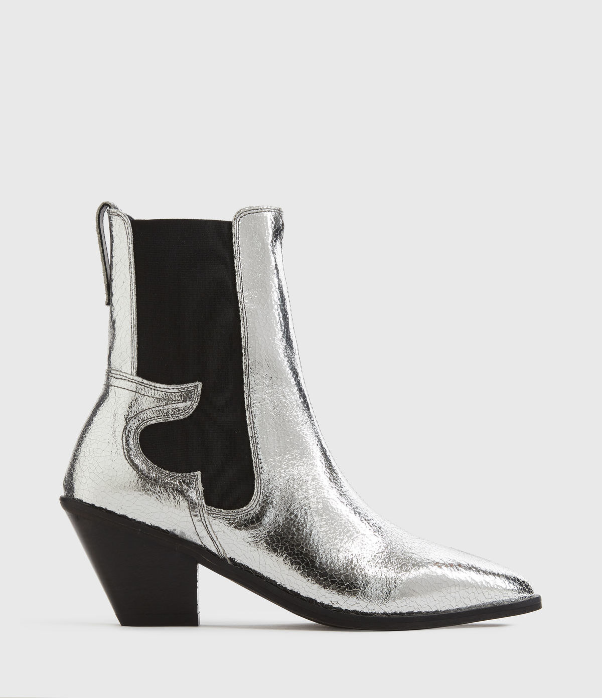 side profile of metallic silver and black cowboy style ankle boot