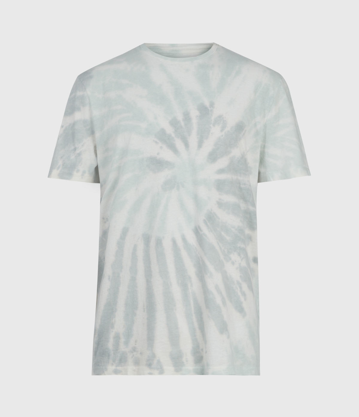light blue faded tie-dye T-shirt with swirl pattern on center of chest.
