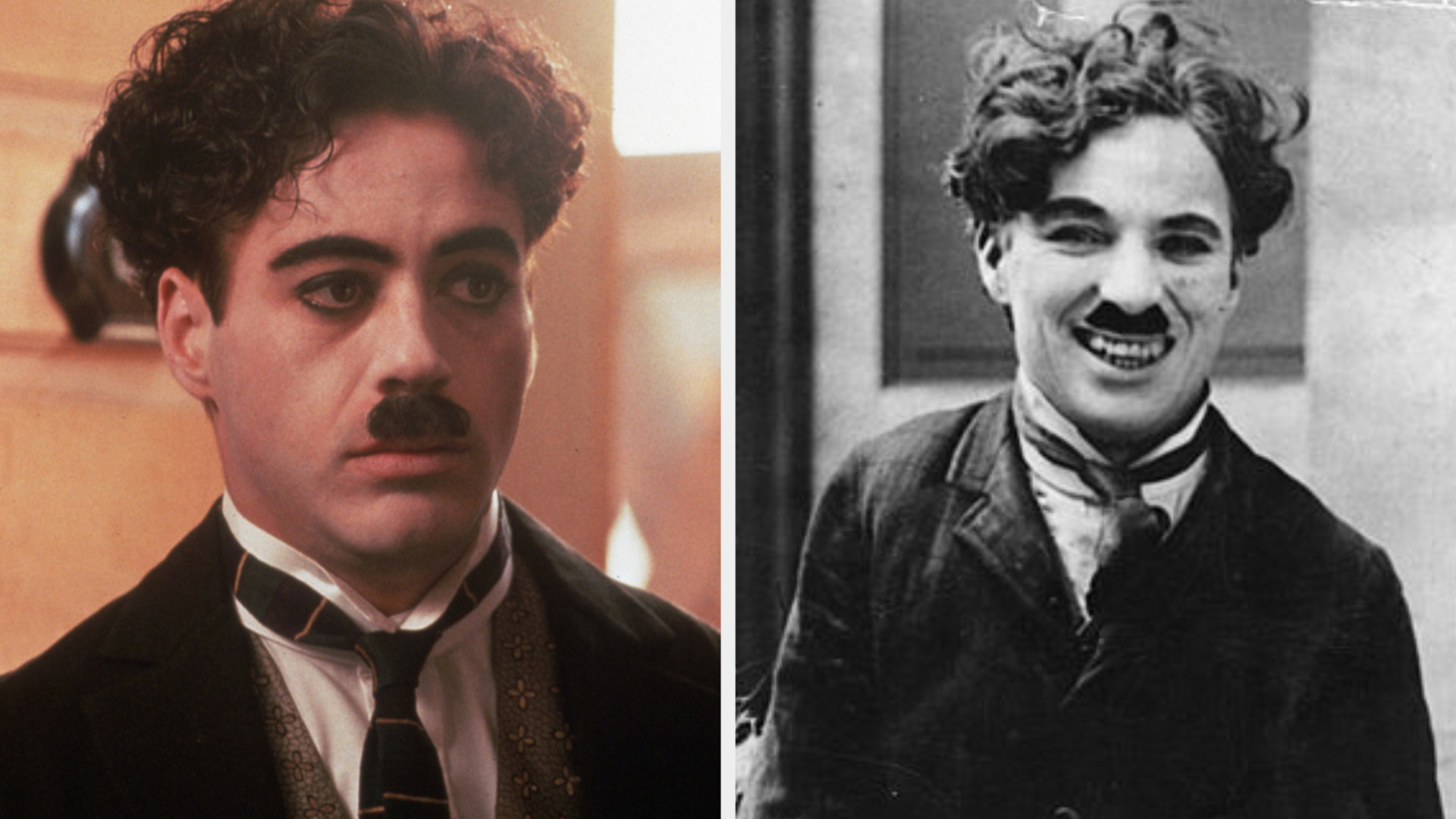 Robert Downey Jr. as Charlie Chaplin with curly hair and a small mustache, wearing a worn jacket and tie, with a serious expression on his face; Charlie Chaplin with curly hair and a small mustache, wearing a coat and tie, giving a happy and playful smile