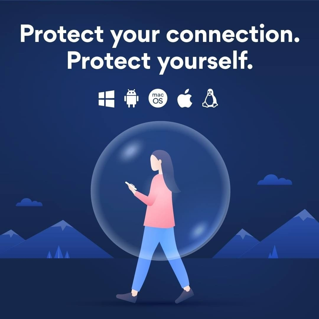 Drawing of a woman walking with a phone surrounded by a NordVPN bubble