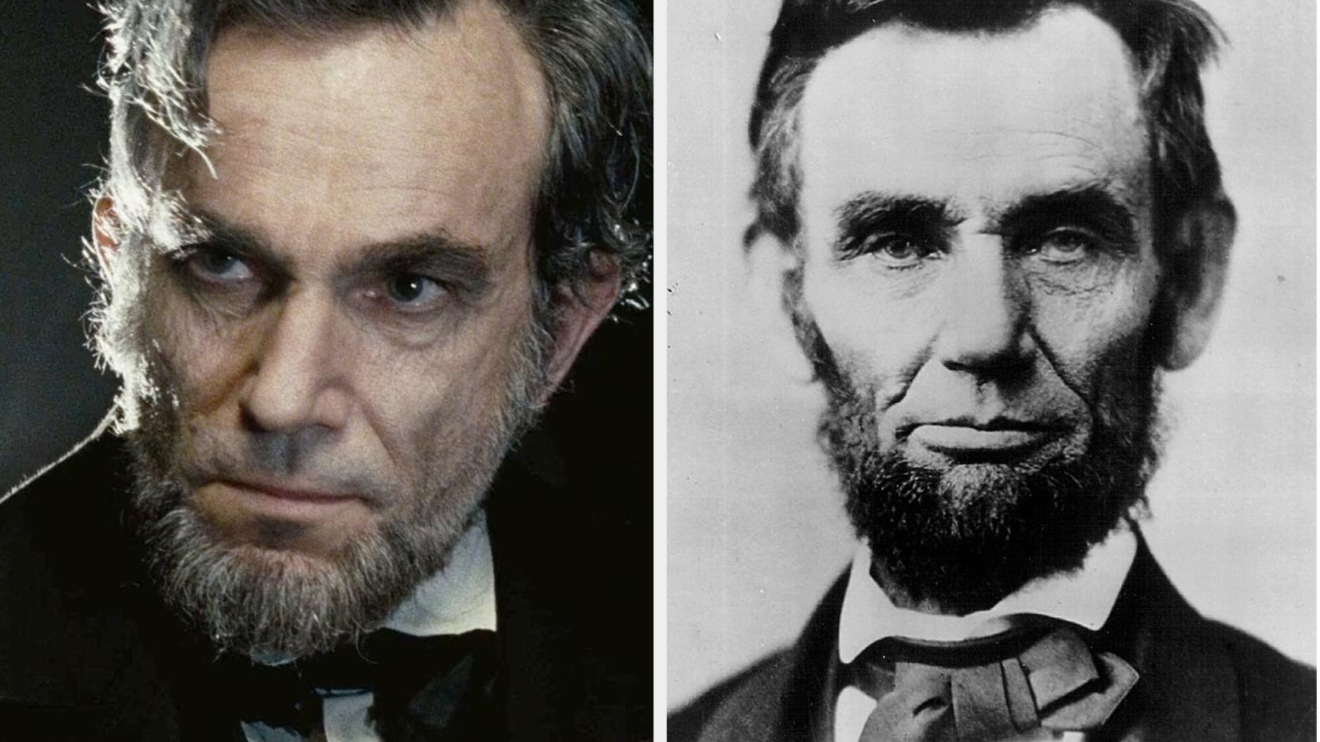 Daniel Day-Lewis as Abraham Lincoln, staring at someone in a serious manner, looking old and tired, wearing a suit; portrait of Abraham Lincoln from the 1860s, serious expression on his face, full beard, wearing suit