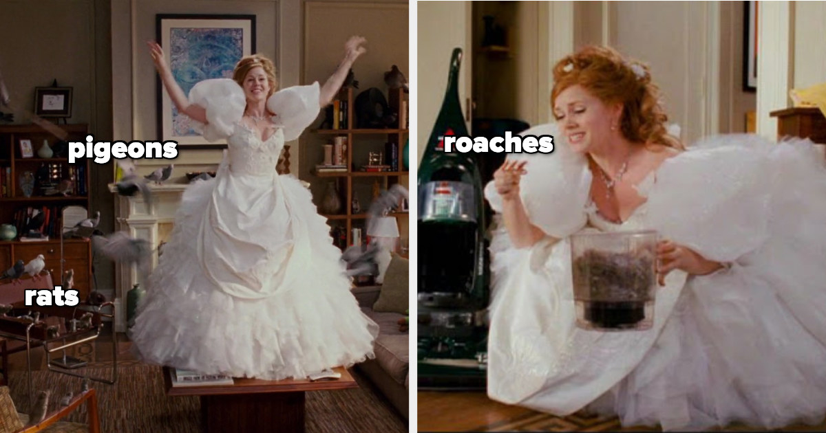 Giselle cleans in her poofy wedding dress