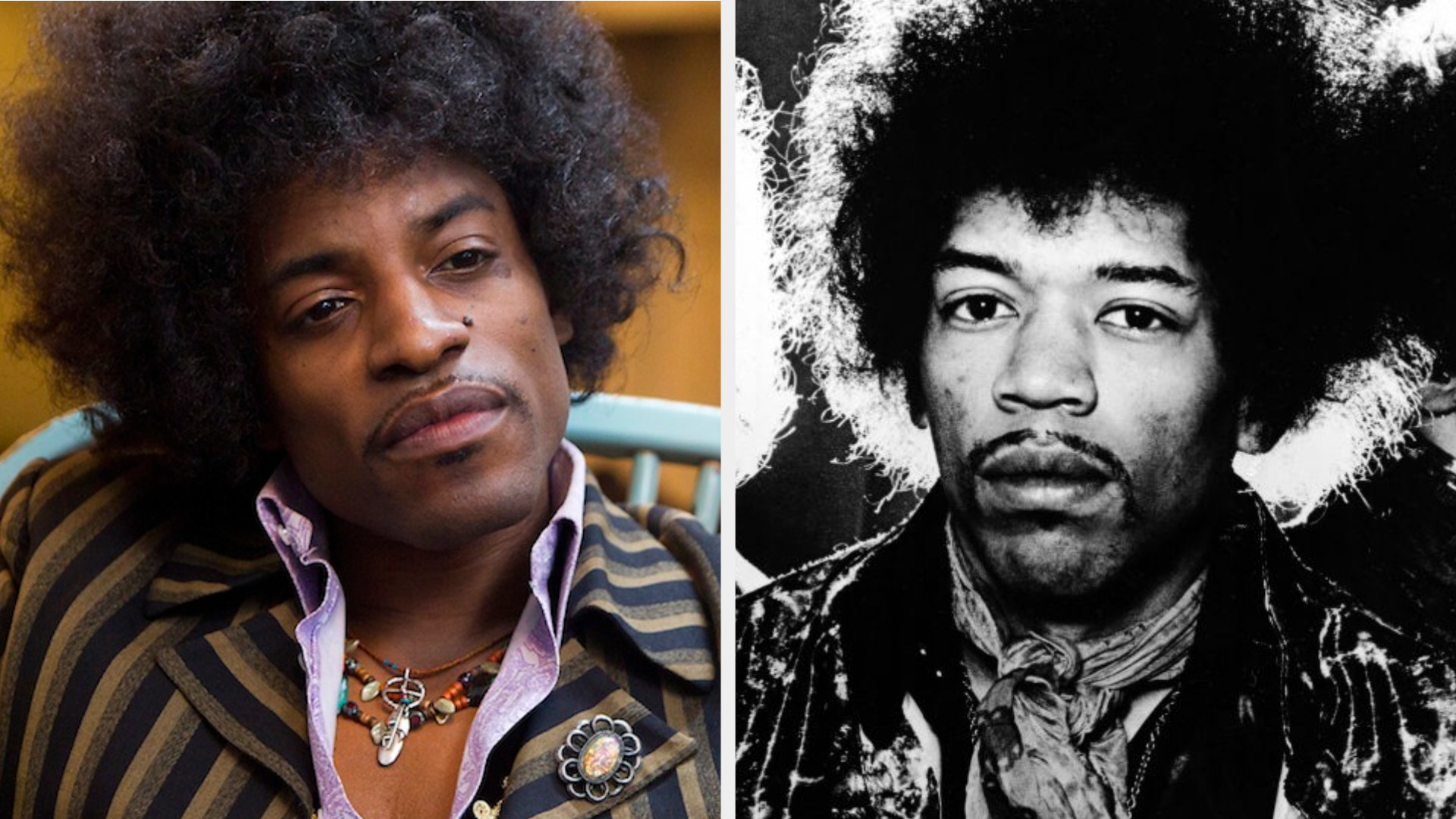 André 3000 as Jimi Hendrix, staring at someone with great concentration, wearing a psychedelic suit and messy hair; Jimi Hendrix posing for a band photo from the late '60s, serious expression on his face, wearing psychedelic suit and scarf