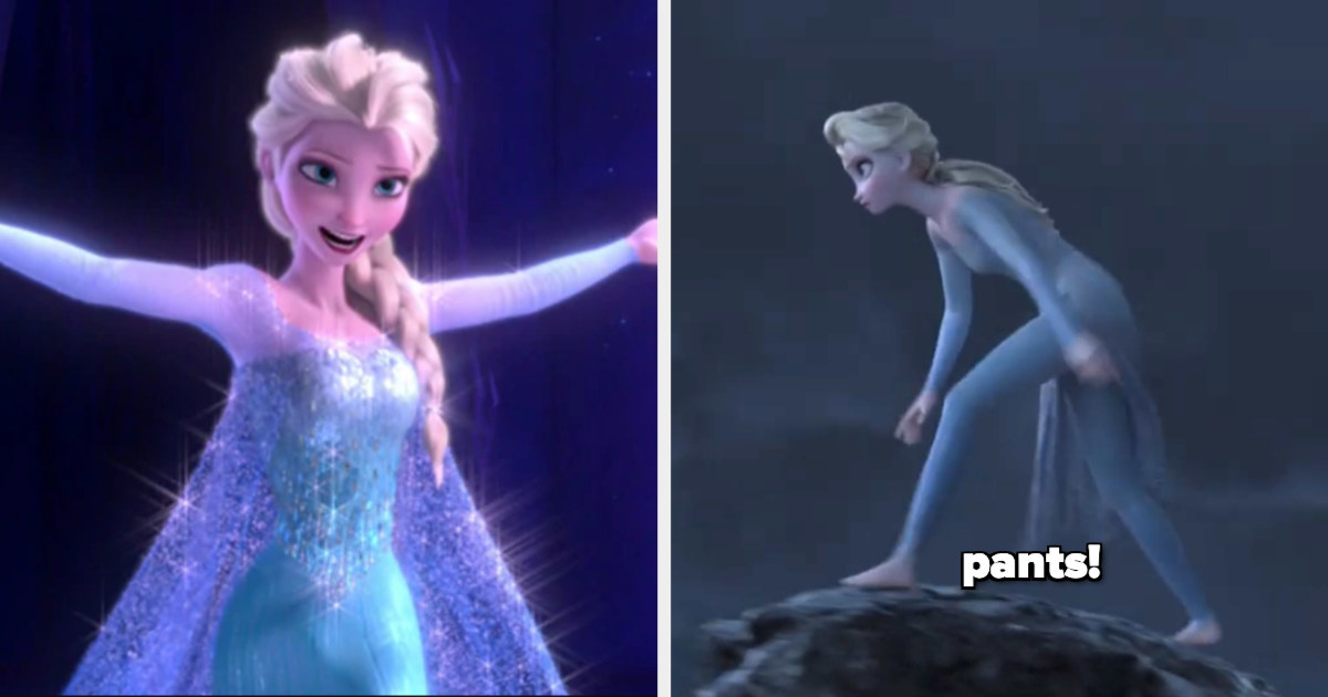 Elsa stands on a cliff wearing pants