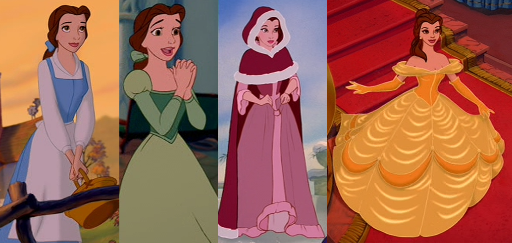 Belle in four different outfits