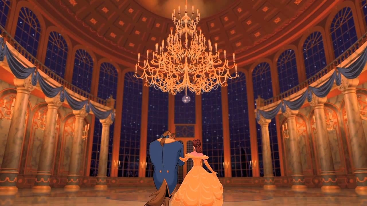Belle and the Beast dancing in the ballroom