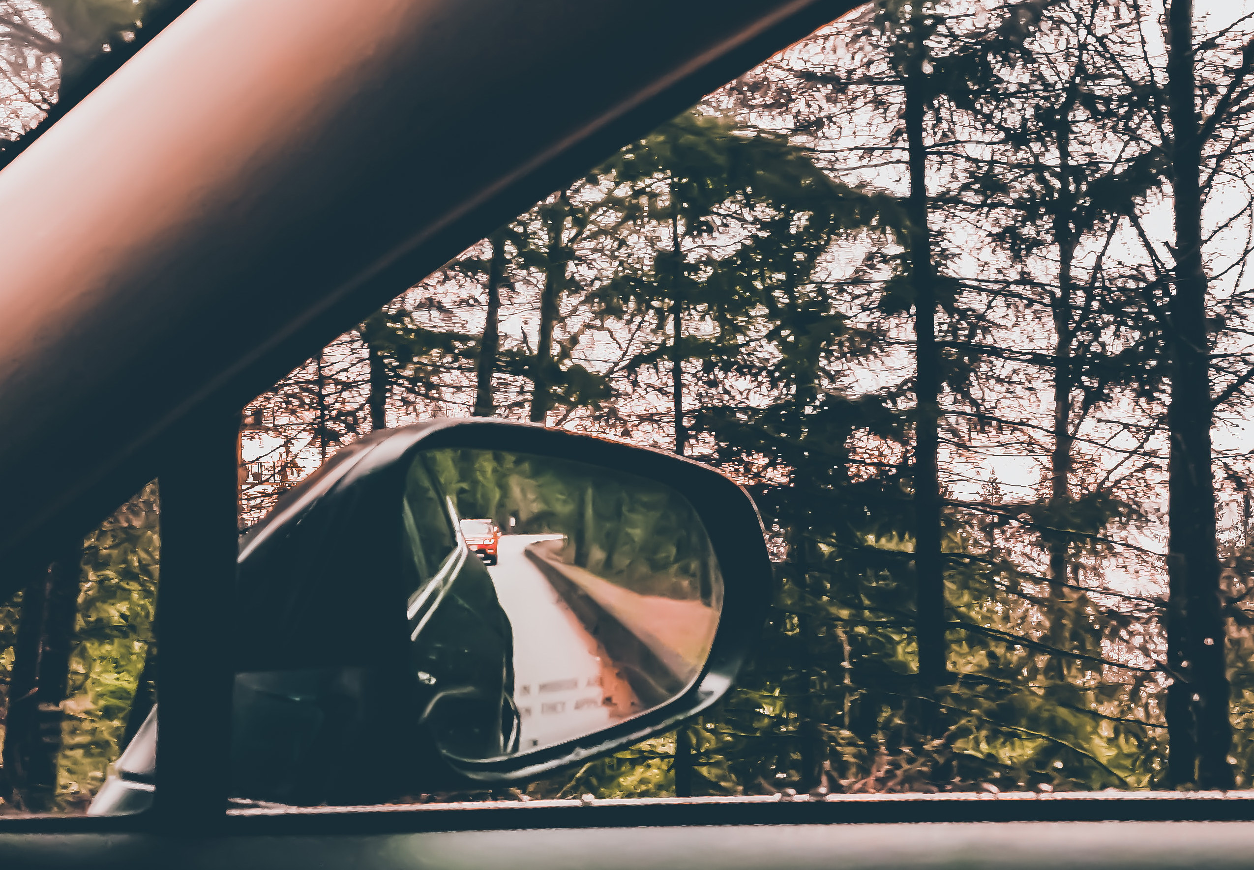 View of a car side mirror on a windy road