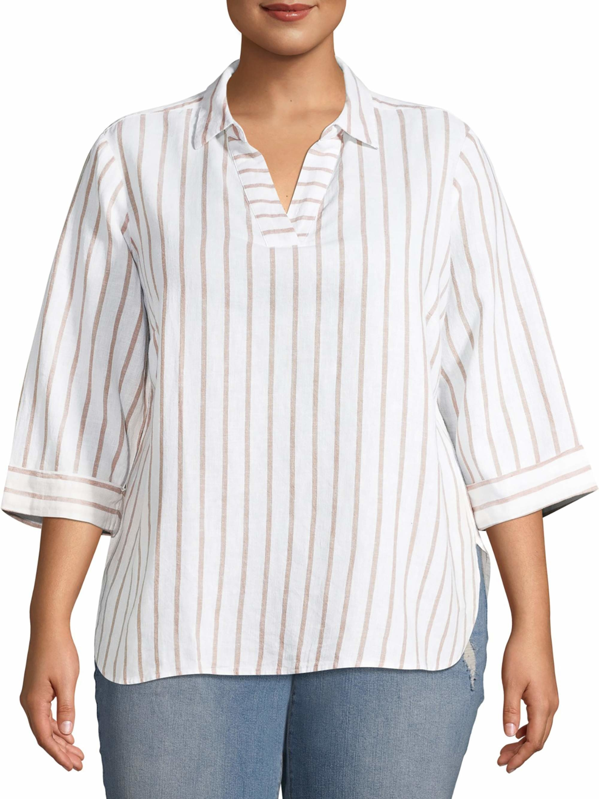 The white and tan striped blouse