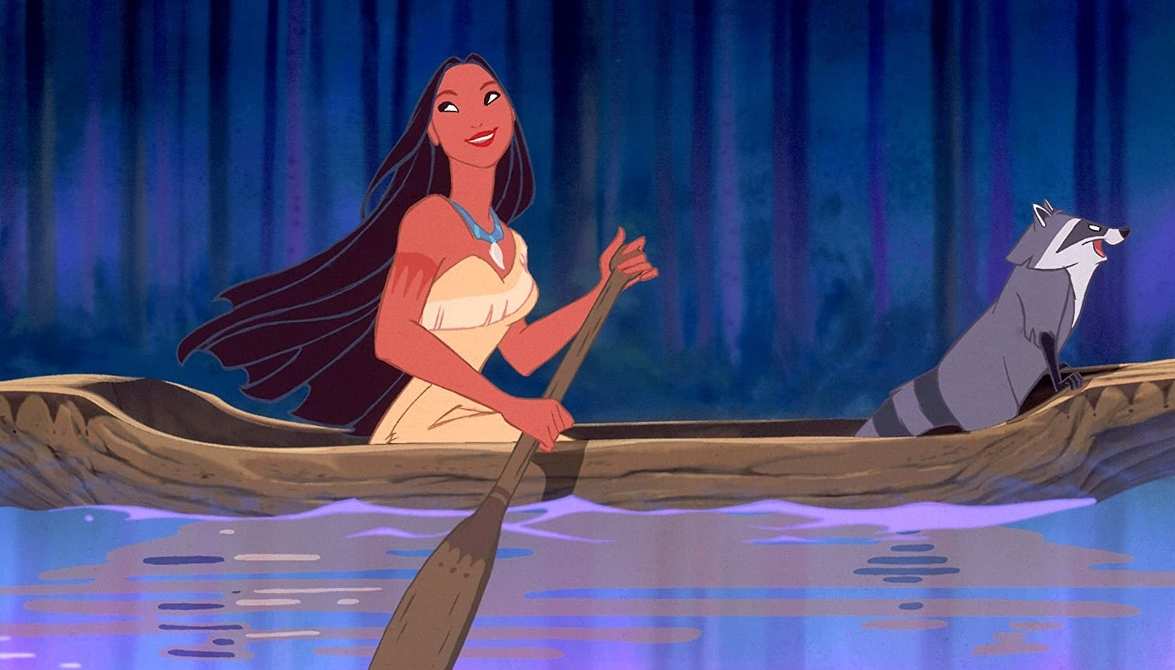 Pocahontas in her dress, rowing a canoe