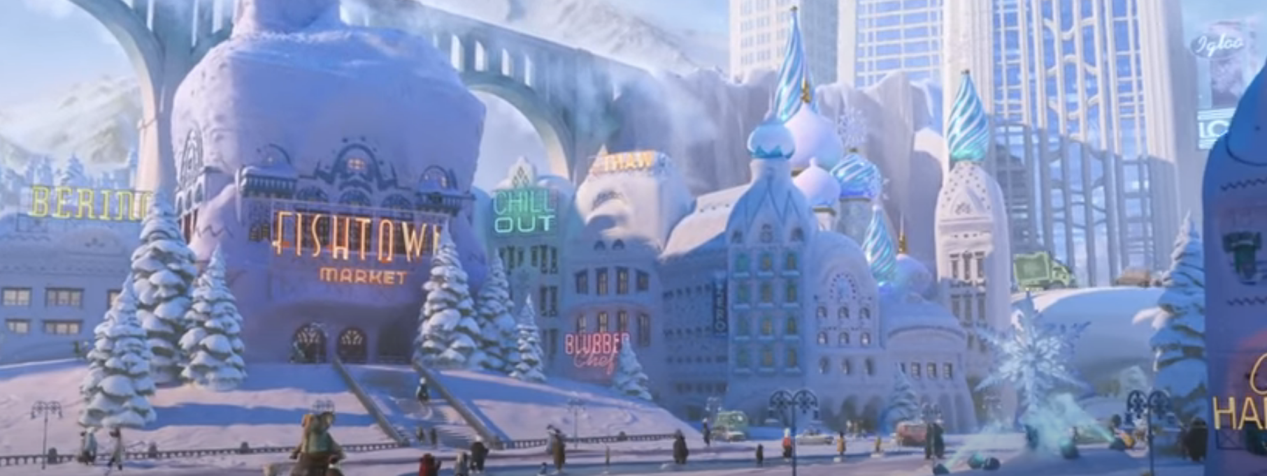 The Zootopia train going through the ice district