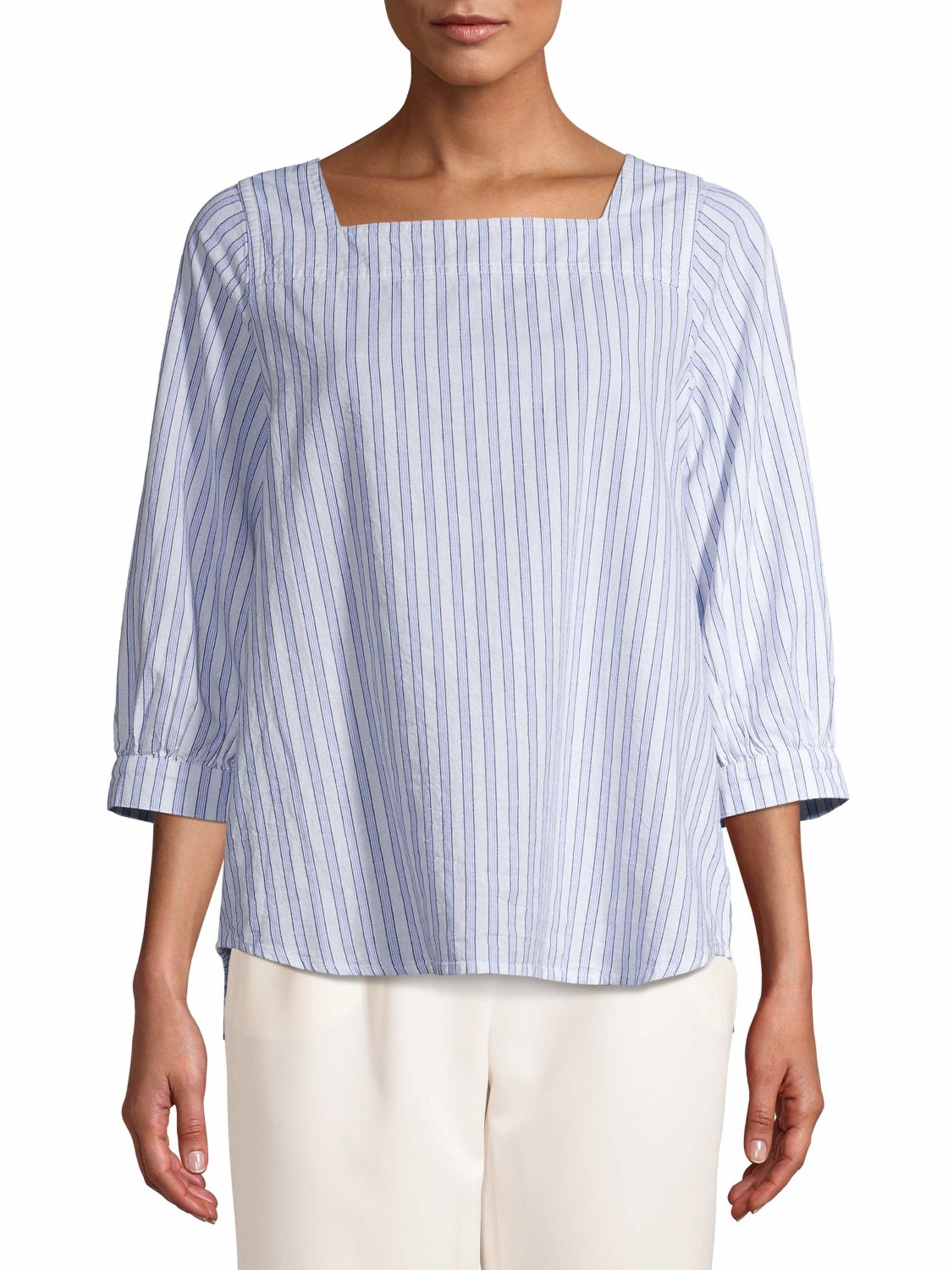 The blue and white striped blouse