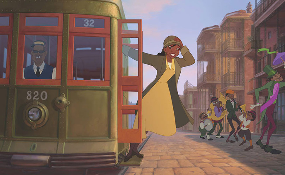 Tiana riding the bus wearing a coat and hat over her waitress outfit