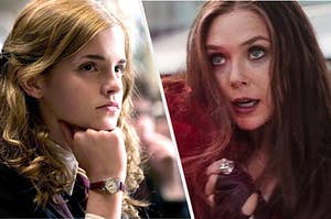 Scarlet Witch and Hermione Granger casting spells
