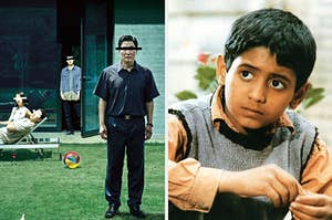 """""""Parasite"""" movie poster on the left with a young boy from """"Children of Heaven"""" on the right"""