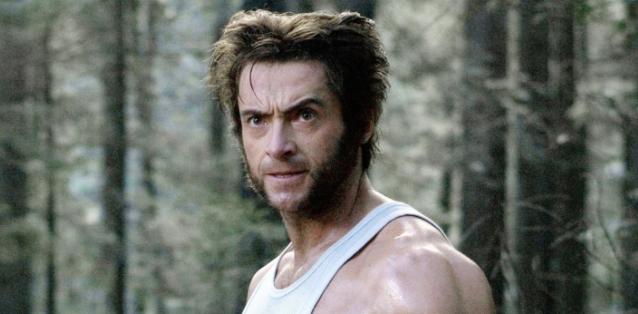 Hugh Jackman as Wolverine with one eyebrow raised