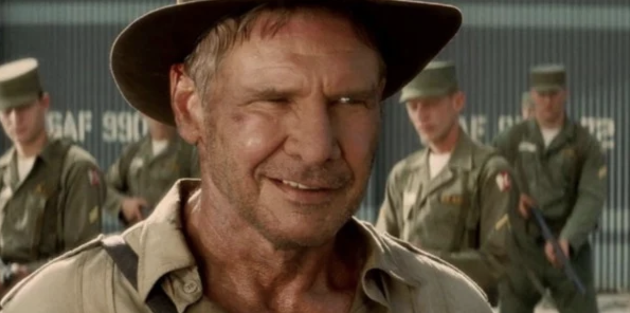 Harrison Ford smiling in Indiana Jones