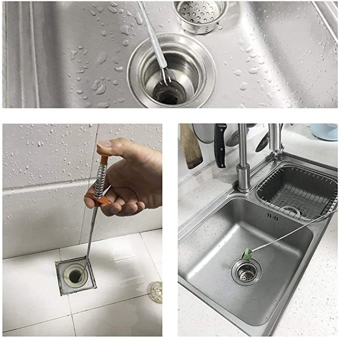 Drain snake being used to unclog the hair from sink drains.
