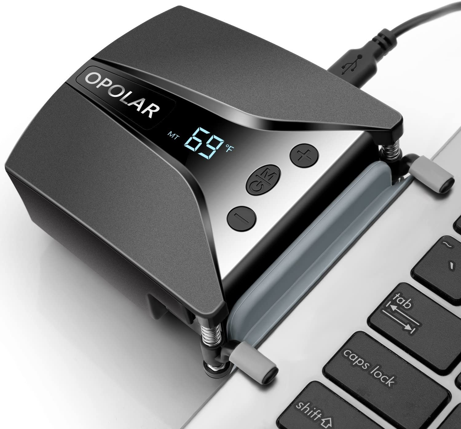 A laptop-cooling gadget clipped to the side of a laptop
