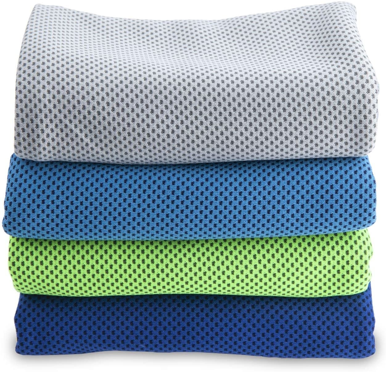 The perforated towels in gray, light blue, green, and dark blue