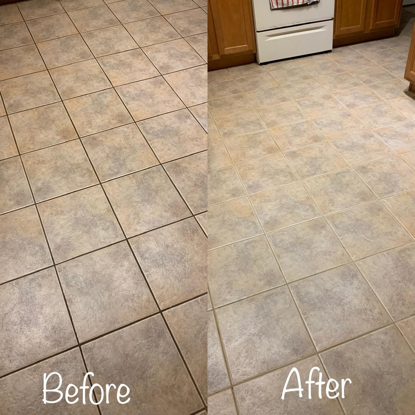 Reviewer before-and-after photos showing dark grout restore to its original color after treating with the cleaner