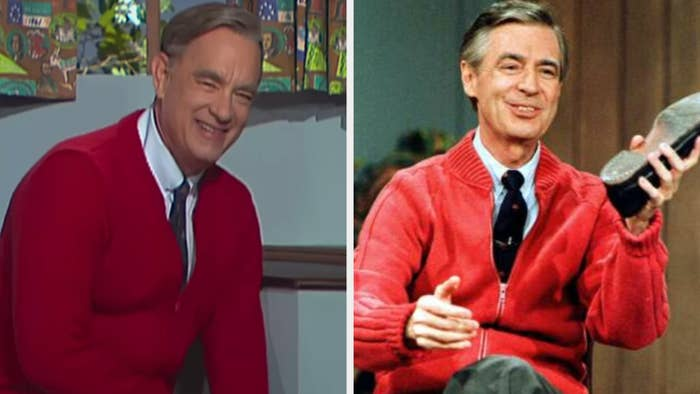 Tom Hanks as Mister Rogers wearing a sweater and tie, happily posing for the camera; Mister Rogers wearing the same sweater and tie, happily holding a shoe in his left hand