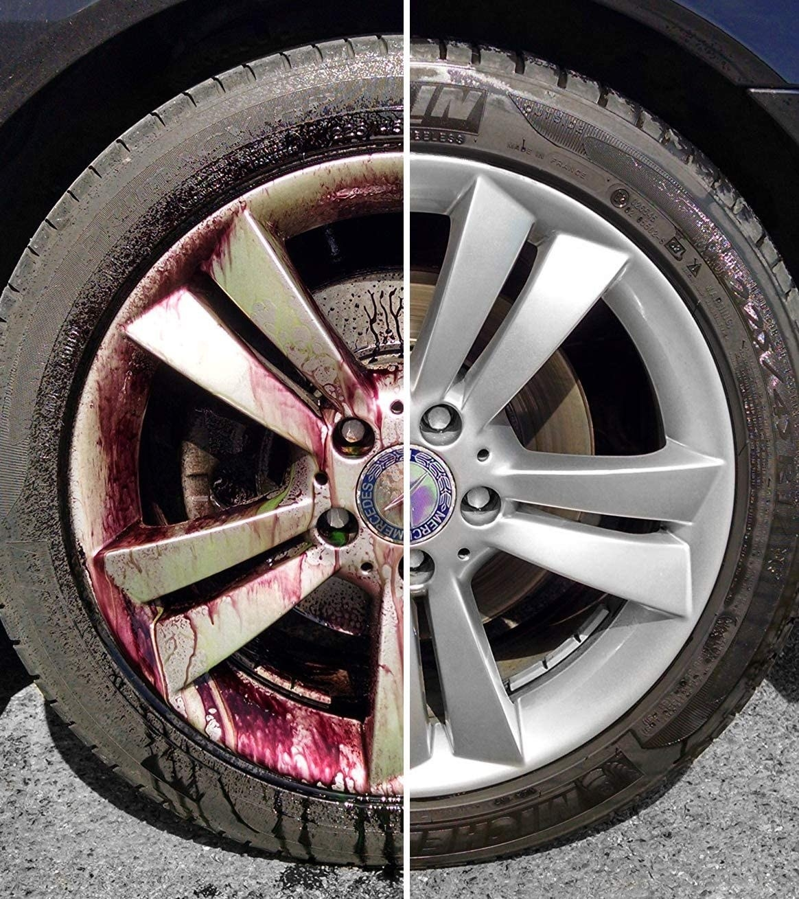 A before and after image of a dirty hubcap becoming clean after using the product