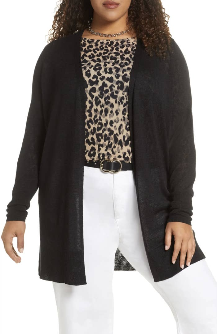 The long black cardigan with an open front