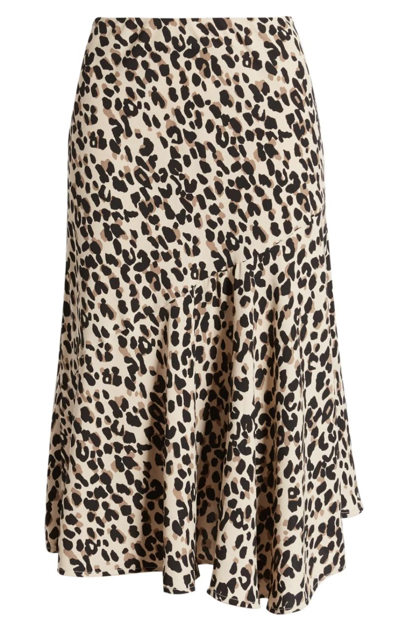 The tan midi skirt with black and brown cheetah-print