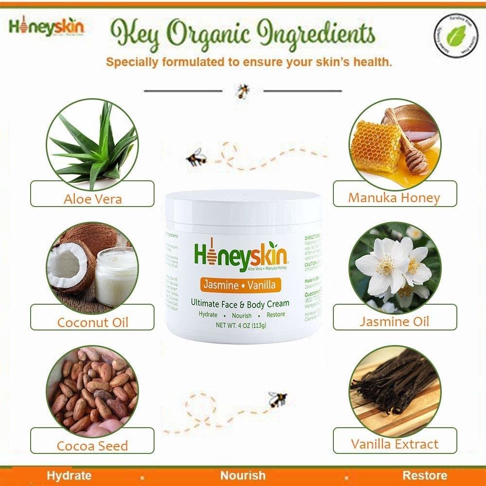 Infographic showing the cream's main ingredients: aloe vera, manuka honey, coconut oil, jasmine oil, cocoa seed, and vanilla extract