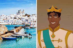"""On the left, a beautiful Grecian island, and on the right, Prince Naveen from """"The Princess and the Frog"""""""