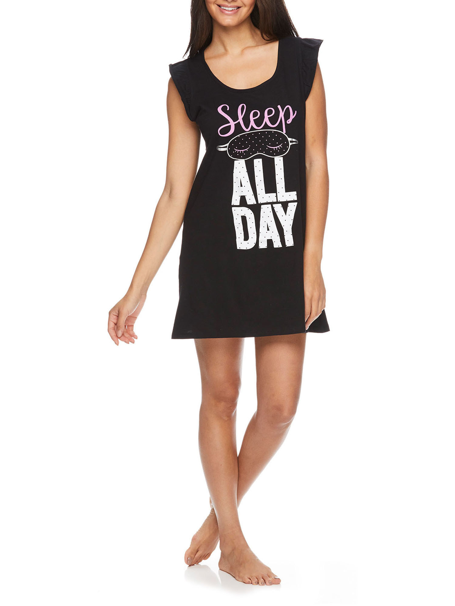 """A model in a black nightgown that says """"Sleep all day"""""""