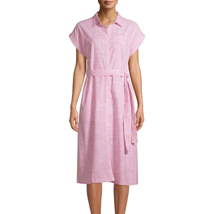 Model wearing the dress in pink