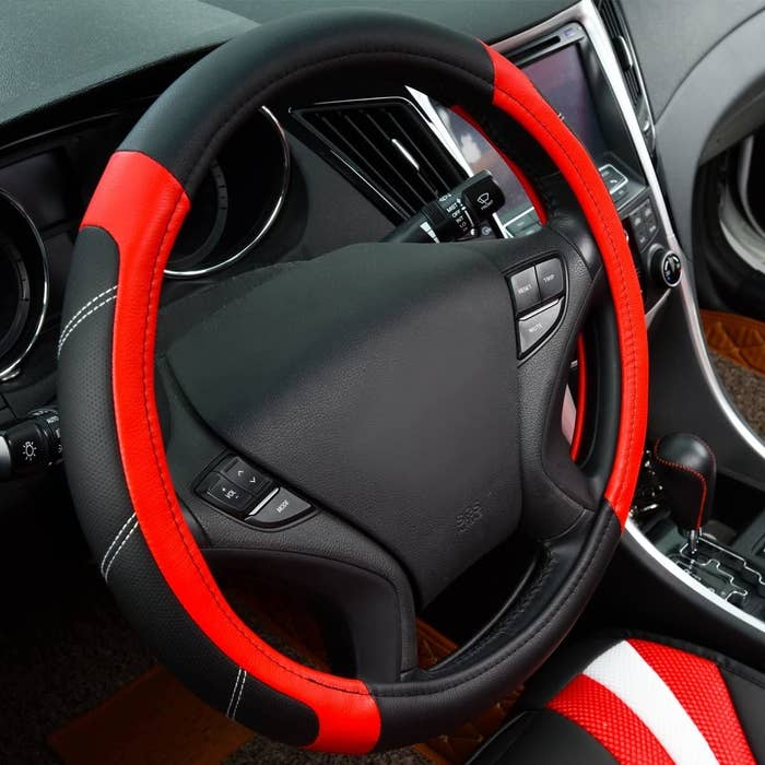 A steering wheel with a cover on it
