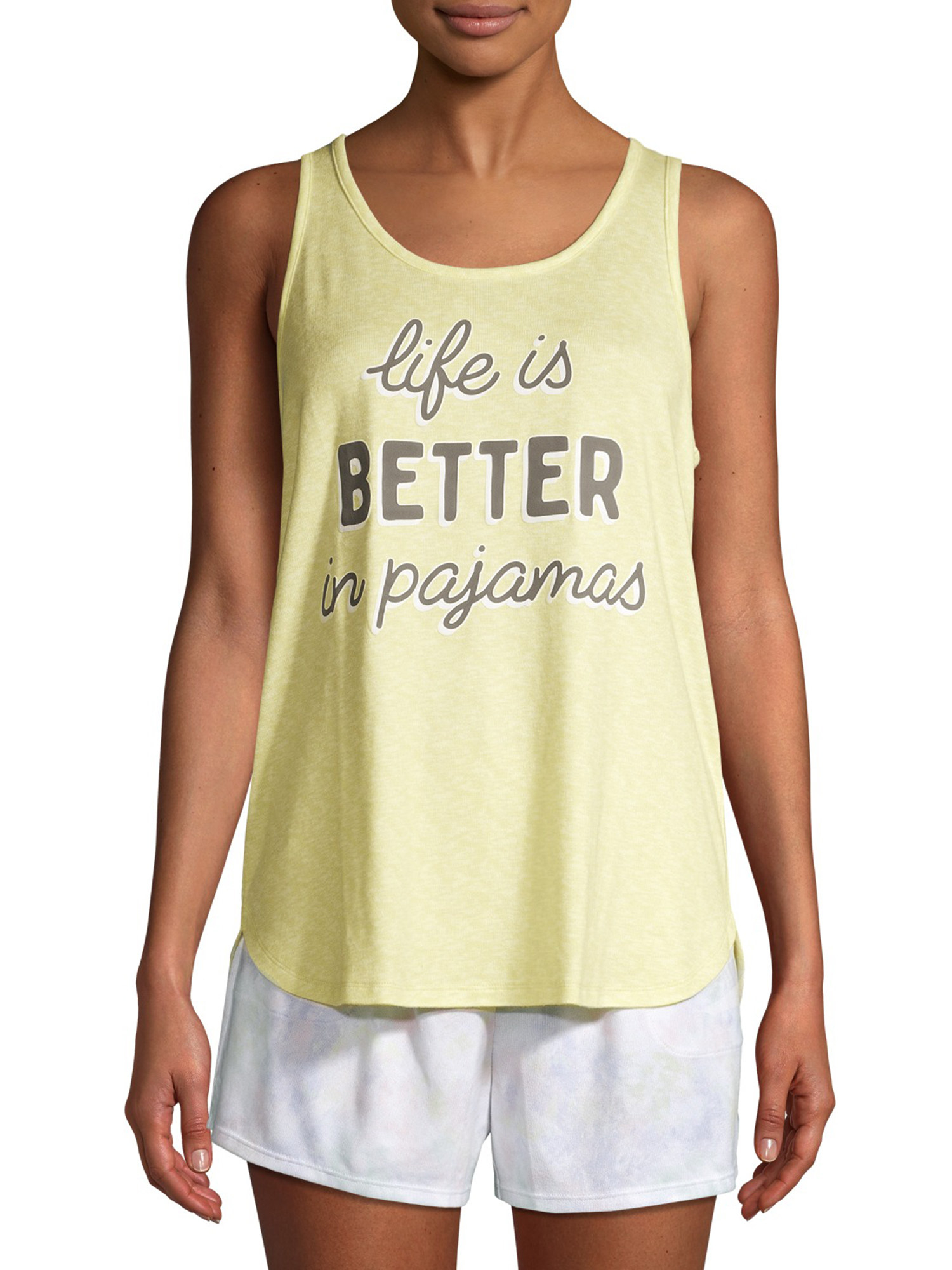 """A model in a yellow tank that says """"life is better in pajamas"""""""