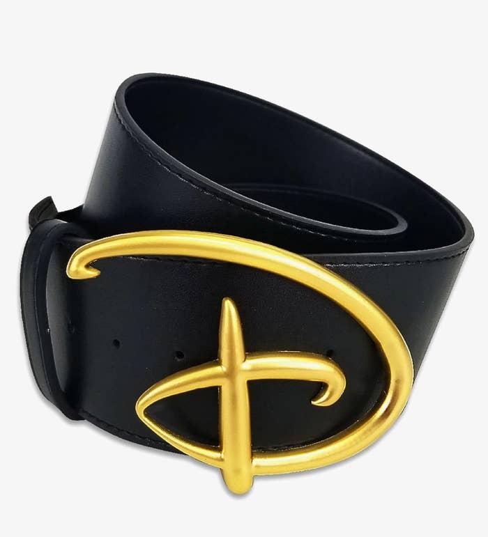 black belt with buckle shaped like disney logo D