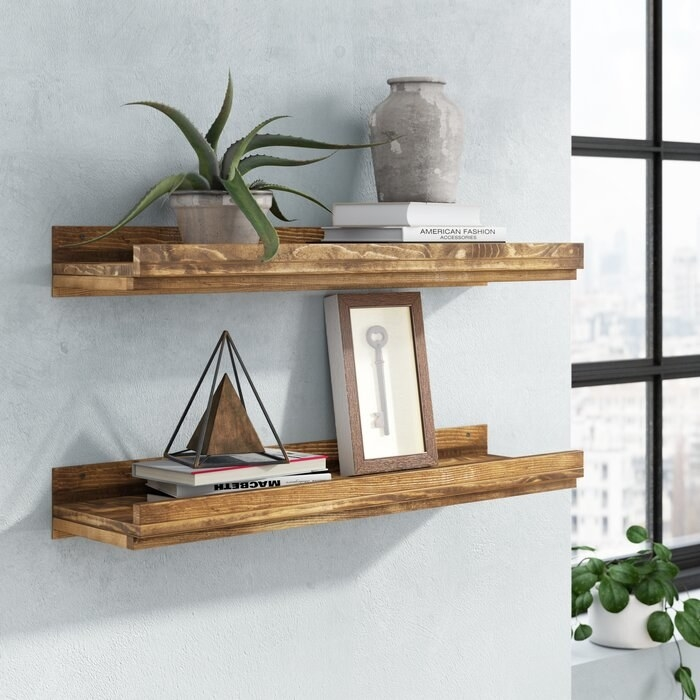 2-piece solid pine floating shelves