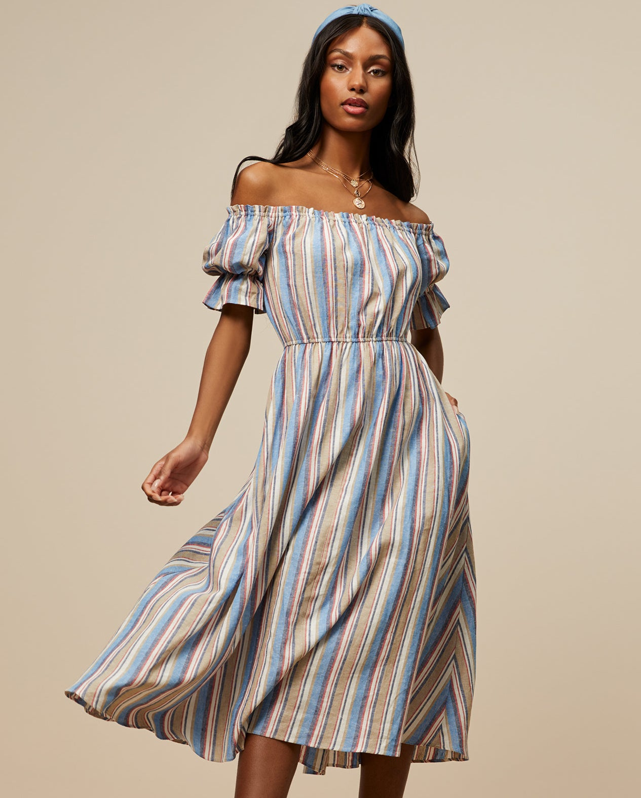 Model wearing the striped dress