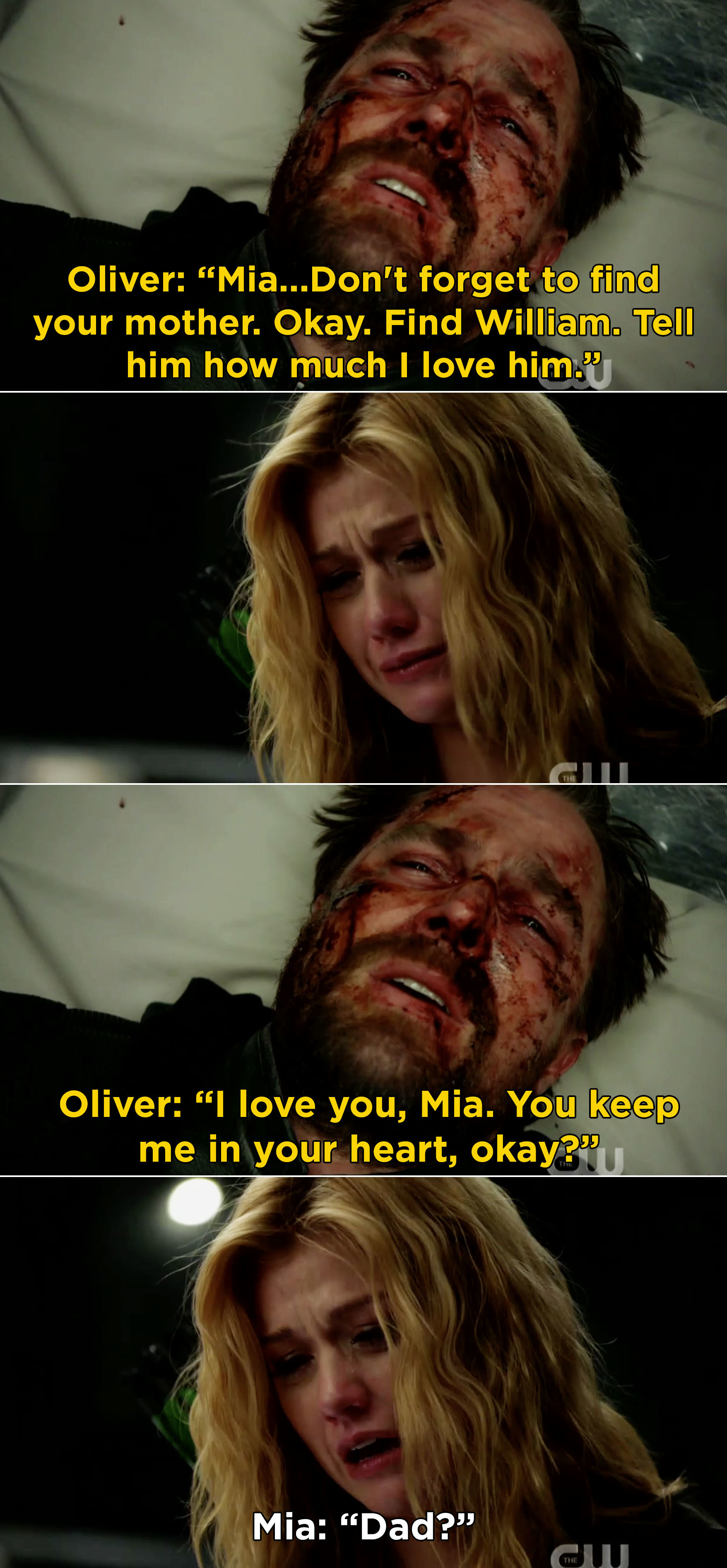 """Oliver dying in front of me and saying, """"I love you, Mia. You keep me in your heart, okay?"""""""