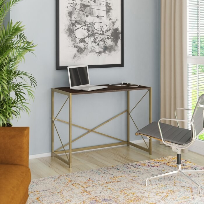 Writing desk in stanton birch finish with metal legs