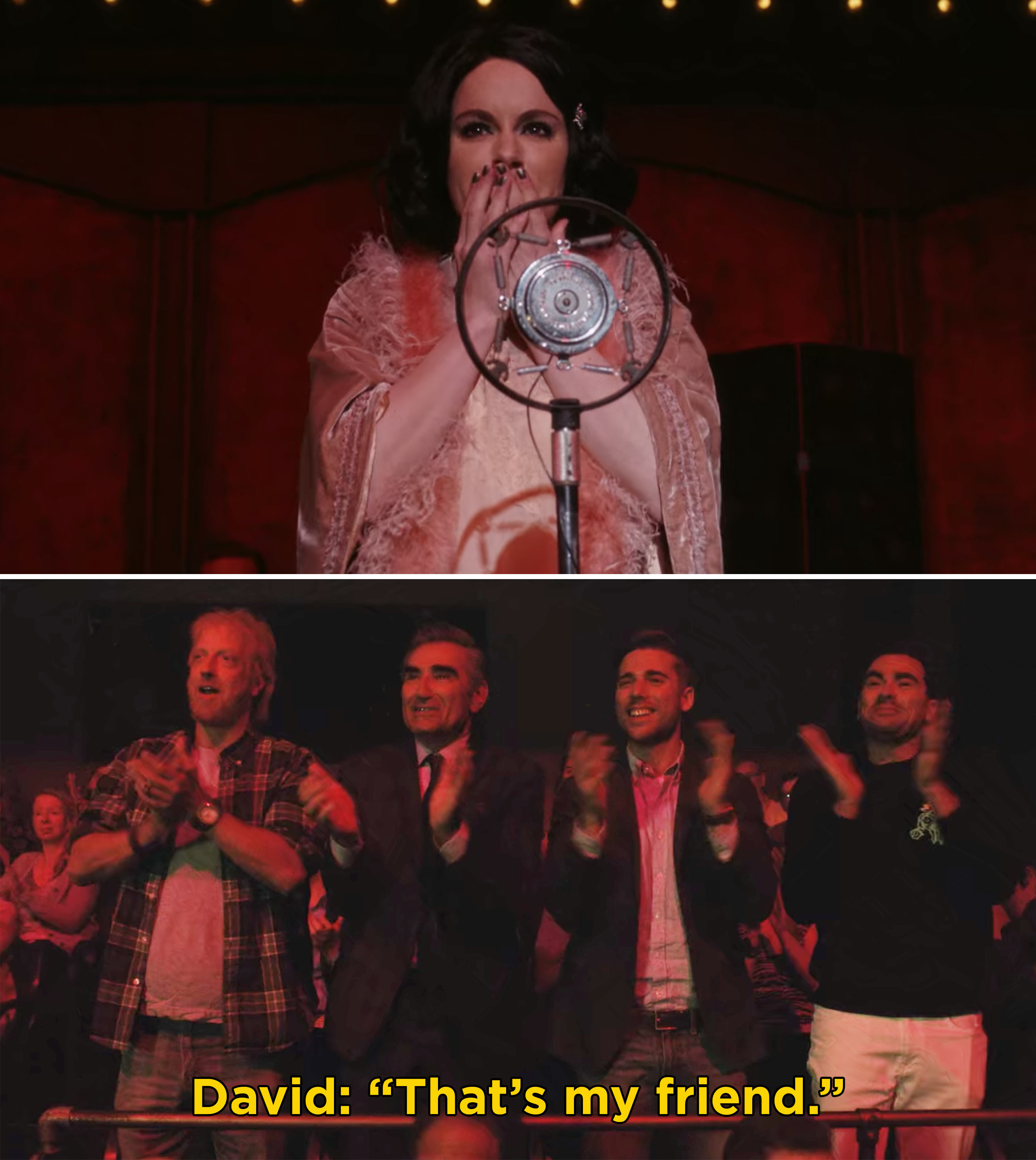 """Stevie singing in Cabaret as Sally and David saying, """"That's my friend"""""""