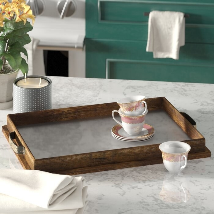 Wooden coffee table tray with clear glass bottom