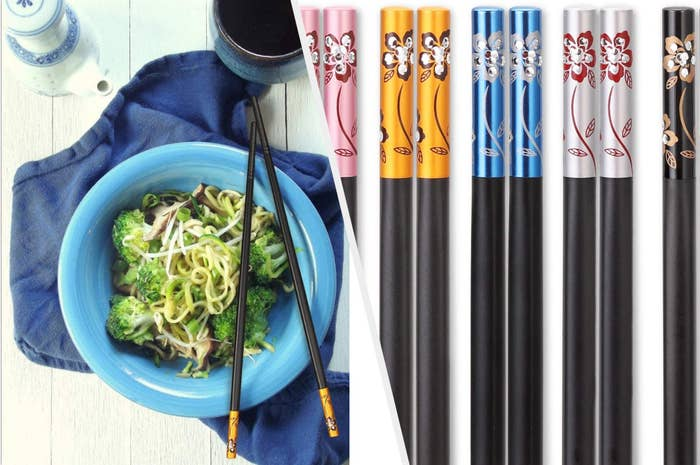 A split image of a set of black chopsticks on a blue bowl with a close up of the ornate colorful designs on the sticks