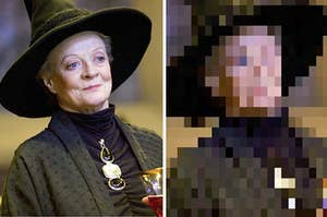 A photo of Professor McGonagall next to that same photo, but pixelated
