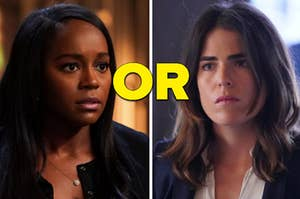 """Michaela and Laurel look at each other from """"How To Get Away With Murder"""""""