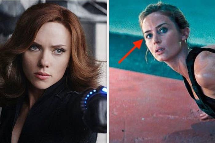 A photo of Scarlett Johansson as Black Widow next to a photo of Emily Blunt
