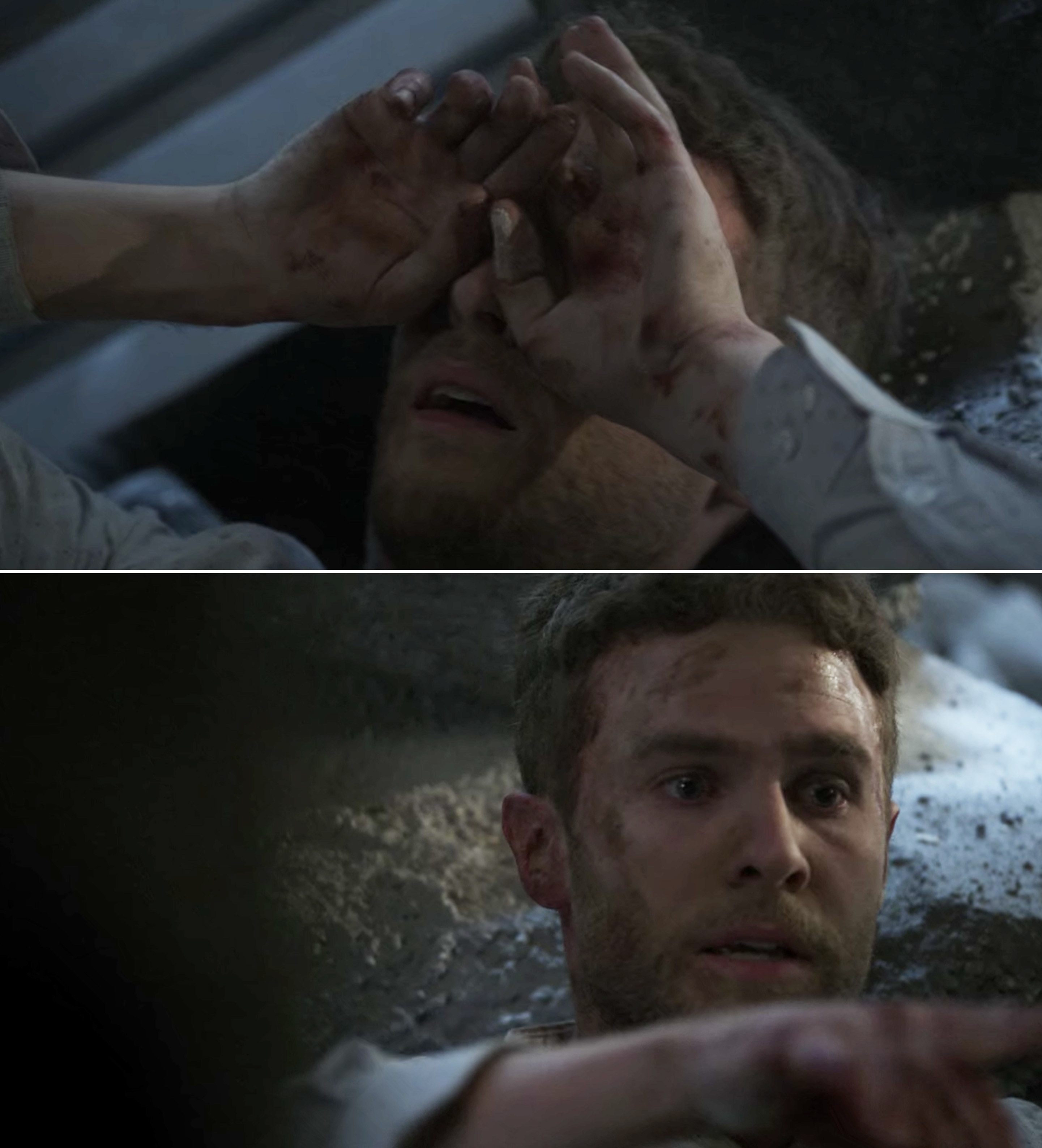 Fitz being crushed under rubble and dying