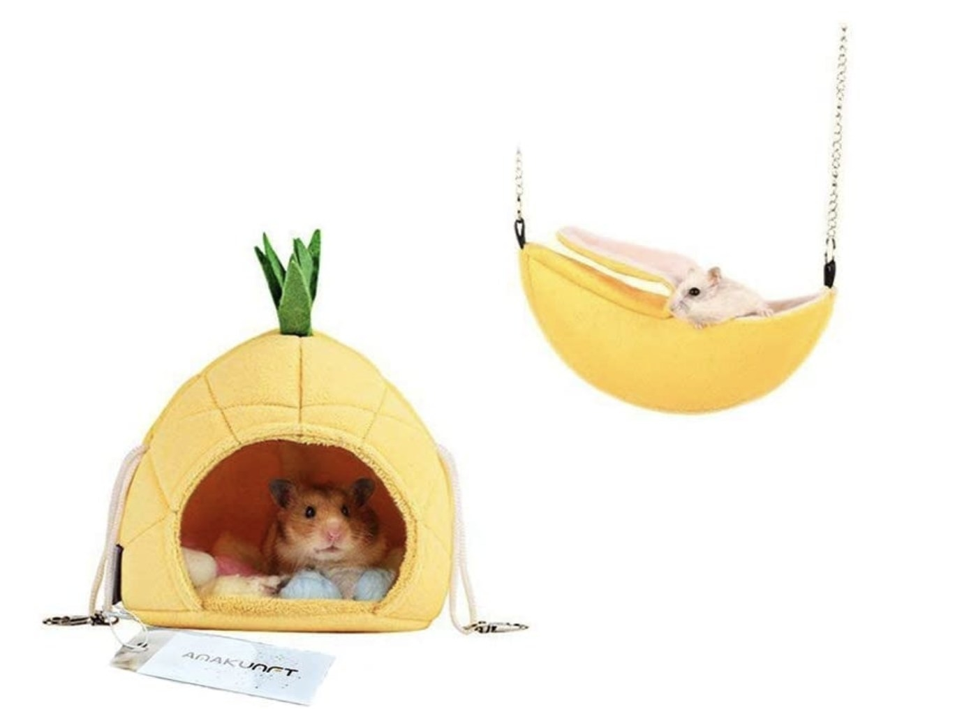 One hamster in a yellow pineapple bed and another in a plush yellow hammock