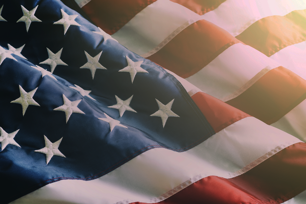An American flag graphic that reads: